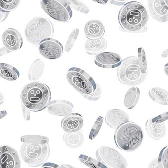 明るい光沢のある銀古代コイン、白の銀雨のシームレスパターン