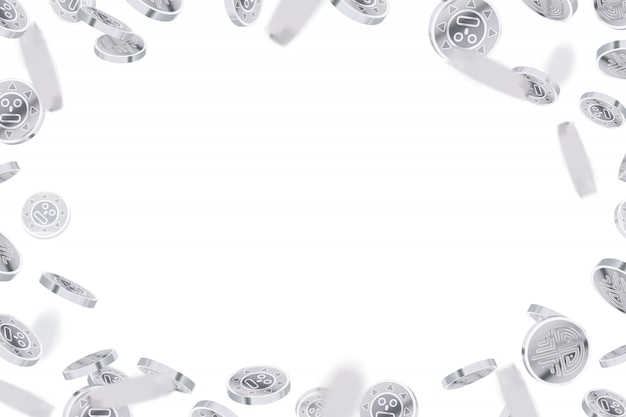 Bright glossy silver ancient coins, silver rain on white
