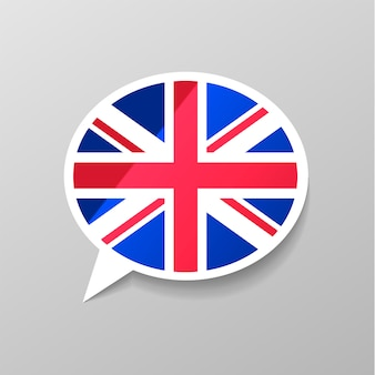 Bright glossy sticker in speech bubble shape with great britain flag, english language concept