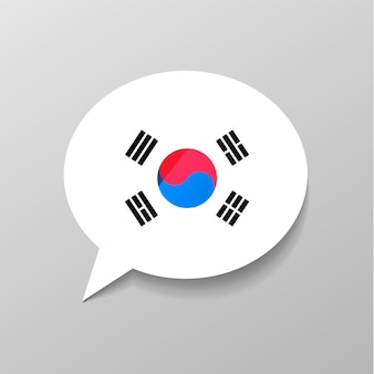 Bright glossy sticker in speech bubble shape with south korea flag, korean language concept