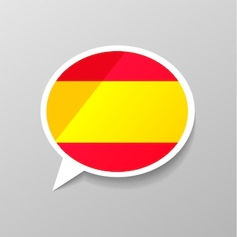 Bright glossy sticker in speech bubble shape with spain flag, spanish language concept