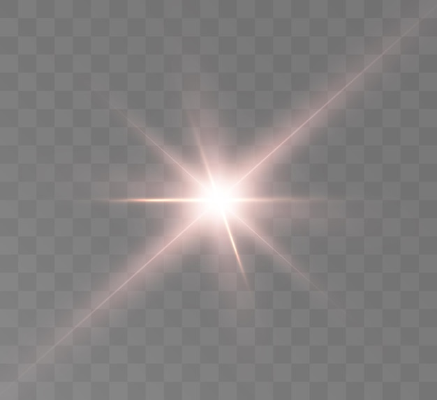 Bright glow light effect star space rays glare