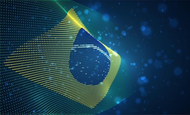 Bright glowing country flag of abstract dots. brazil