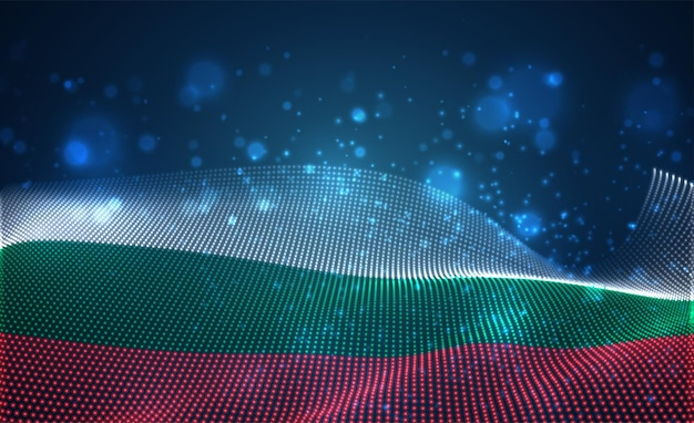 Bright glowing country flag of abstract dots. bulgaria