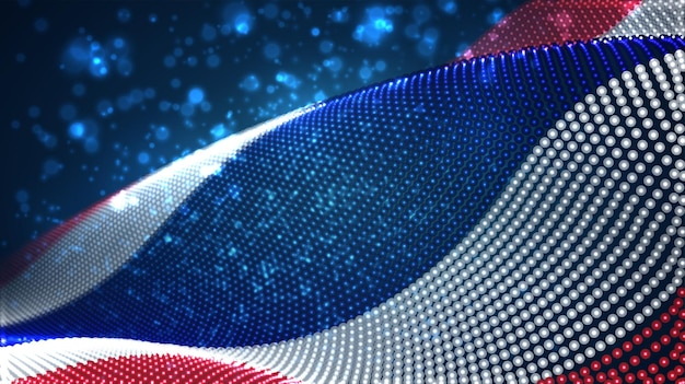 Bright glowing country flag of abstract dots. thailand