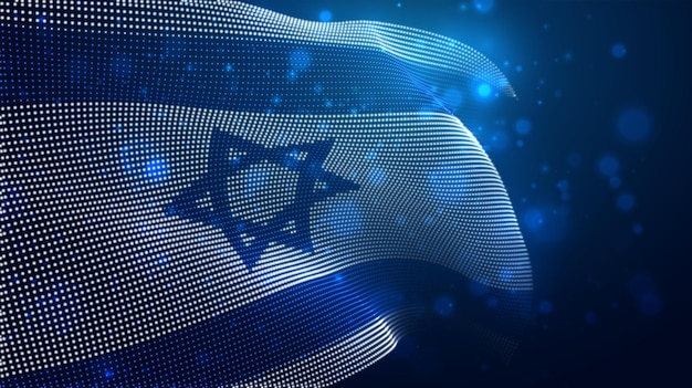 Bright glowing country flag of israel