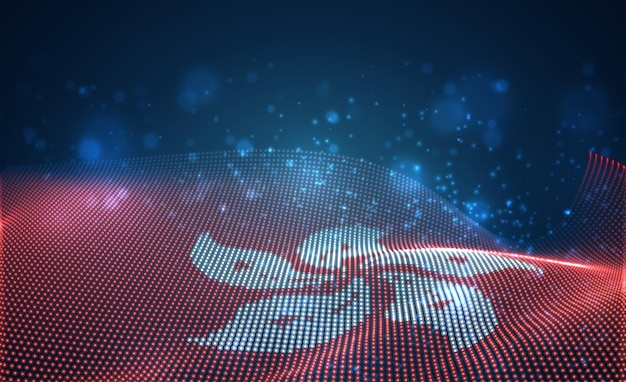 Яркий светящийся флаг страны из абстрактных точек. гонконг