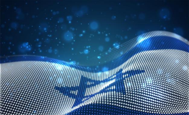 추상 점의 밝은 빛나는 국가 플래그. 이스라엘