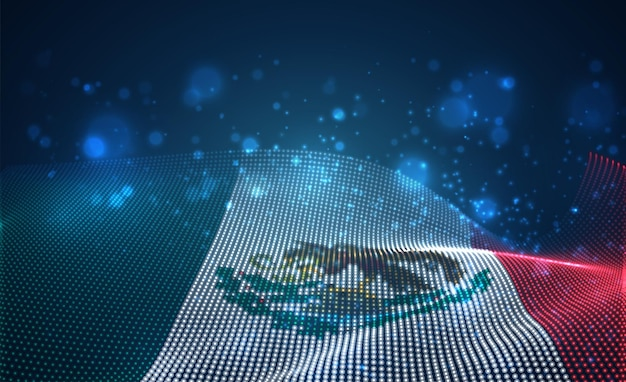 Яркий светящийся флаг страны из абстрактных точек. мексика