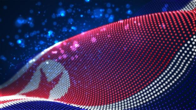 抽象的なドットの明るく輝く国旗。北朝鮮、