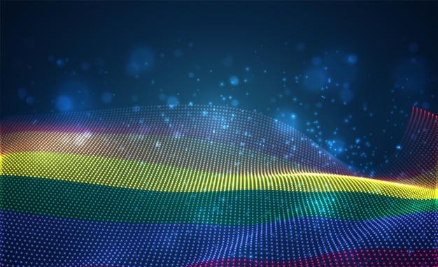 Яркий светящийся флаг страны из абстрактных точек. радуга лгбт