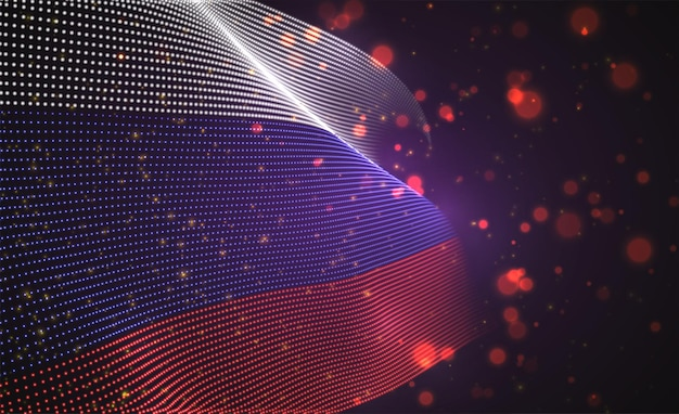 Яркий светящийся флаг страны из абстрактных точек. россия
