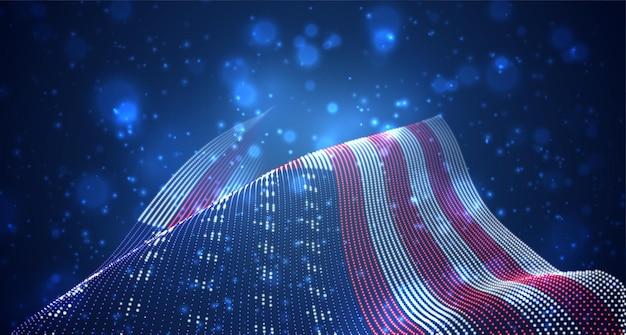 Яркий светящийся флаг страны из абстрактных точек. сша