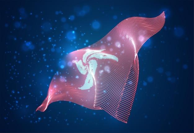 Яркий светящийся флаг страны гонконга
