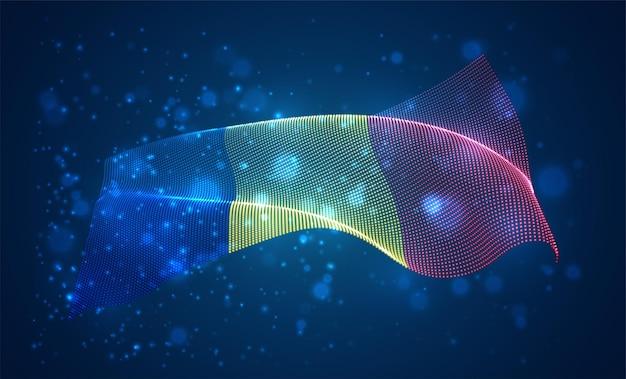 루마니아의 밝은 빛나는 국가 국기