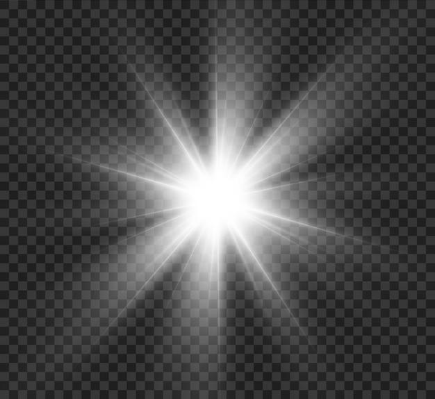 Яркий светящийся свет взрывается на прозрачном фоне. сверкающие частицы волшебной пыли. яркая звезда. прозрачное яркое солнце, яркая вспышка. блестит. в центре яркая вспышка.