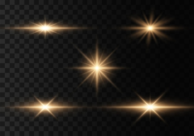Bright gold flashes glares bright rays of light flashes sparkles golden lights glowing lines