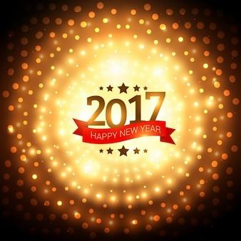 2017의 밝은 황금 동그라미 배경