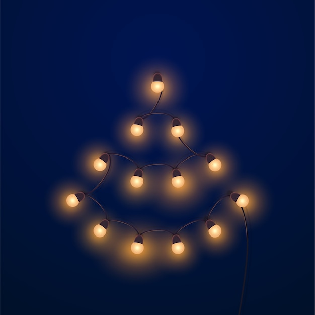 Bright golden garland shapes christmas tree