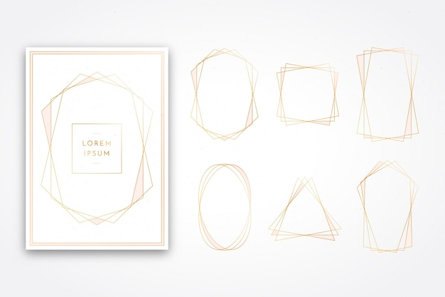 Bright golden polygonal frame collection