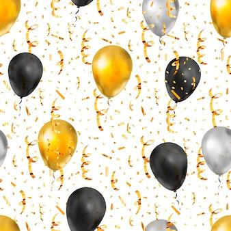 Яркий золотой серпантин, конфетти и воздушные шары, роскошный бесшовный узор на белом