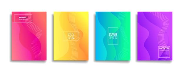 밝은 그라데이션 색상 추상 선 패턴 배경 표지 디자인.