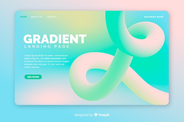 Bright gradient landing page with curved line