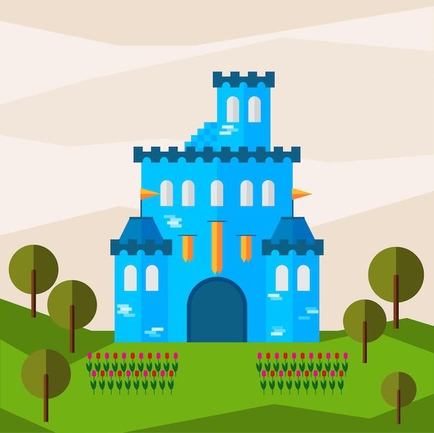 Яркая графическая иллюстрация с мультяшным синим замком для использования в дизайне карты, приглашения, баннера, плаката или фона плаката