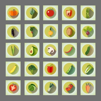 Bright graphic set of icons organic vegetables