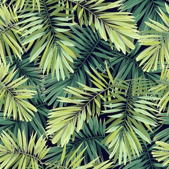 Bright green background with tropical plants. seamless exotic pattern with phoenix palm leaves.