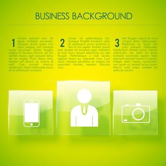 Sfondo di affari verde brillante o pagina per presentazione aziendale con tre paragrafi