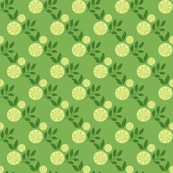 밝은 녹색 색상 대각선 레몬 조각은 매끄러운 패턴을 인쇄합니다. 여름 음식 과일 요소입니다. 자연 인쇄입니다. 재고 그림입니다. 섬유, 직물, 선물 포장, 월페이퍼에 대한 벡터 디자인.