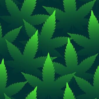 밝은 녹색 마리화나 잎 추상 원활한 패턴