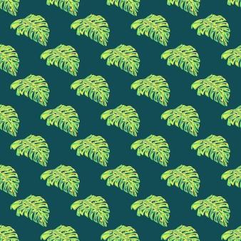 明るい緑の怪物の葉は花のスタイルでシームレスなパターンを形作ります。濃いターコイズブルーの背景。季節のテキスタイルプリント、ファブリック、バナー、背景、壁紙のベクトルイラスト。