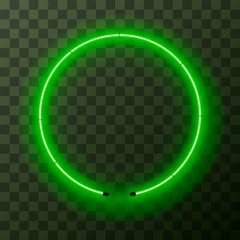 투명 배경에 밝은 녹색 네온 라운드 프레임