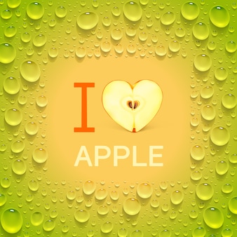 Bright green poster with heart-shaped apple and juicy drops. the inscription