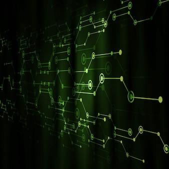 관점으로 밝은 녹색 기술 배경