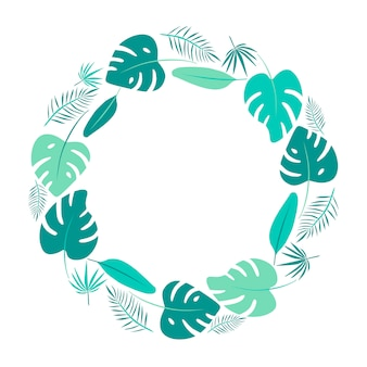 Bright green tropical leaves round frame