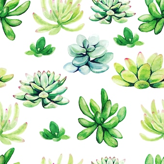 Bright green watercolor succulent plants, seamless pattern