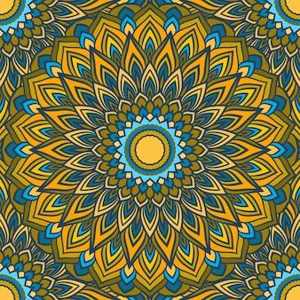 실크 목도리의 디자인 또는 섬유에 인쇄에 대한 많은 세부 사항과 함께 밝은 손으로 그리는 장식 꽃 추상 원활한 배경
