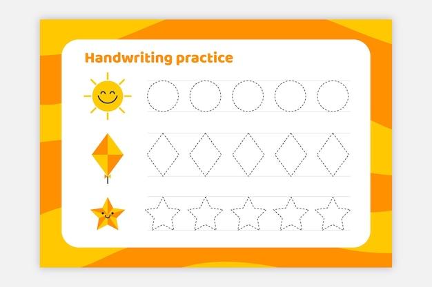 Foglio di lavoro per la pratica della scrittura a mano brillante