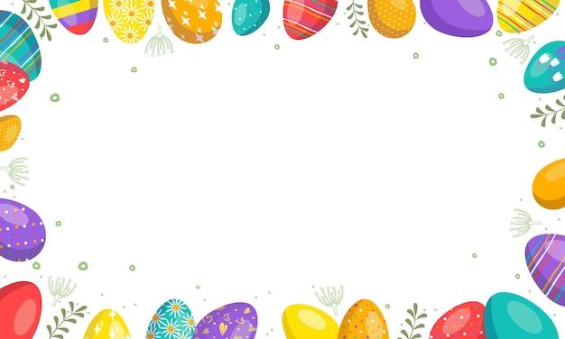 웹, 할인, 제안, 엽서를 위한 달걀이 있는 밝은 행복한 부활절 프레임. 봄 휴가 장식. 벡터 평면 그림