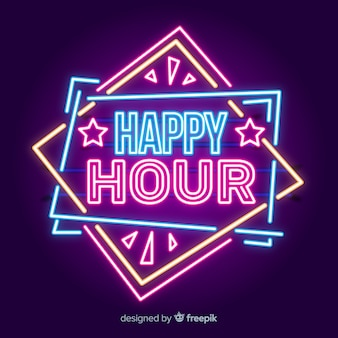 Bright happy hour neon sign