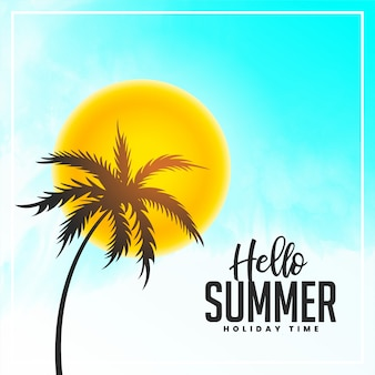 Bright hello summer palm tree and sun background