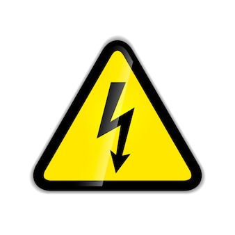 Bright high voltage sign isolated on white