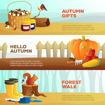 Bright horizontal banners with autumn vegetables Free Vector
