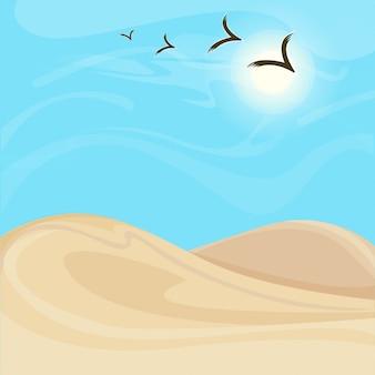 明るく暑い砂漠の風景