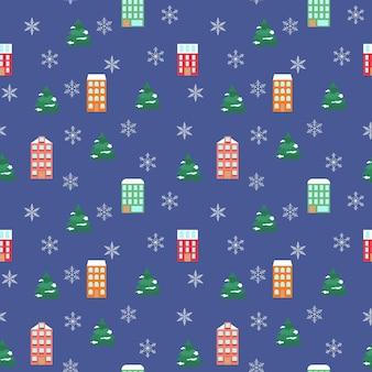 明るい家と雪片のシームレスなパターンモミの木とクリスマスのお祭りの背景