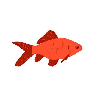 赤い魚の明るいアイコン。海と海の性質。フラットスタイルのベクトル図