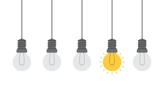 Bright idea and insight concept with light bulb.